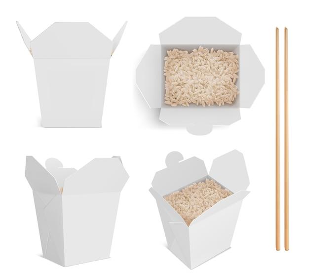 Caixa branca com arroz e pauzinhos, embalagem de papel para comida chinesa ou japonesa.