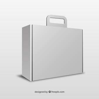 Caixa branca com modelo de alça