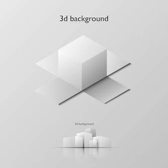 Caixa branca de vetor 3d em fundo cinza