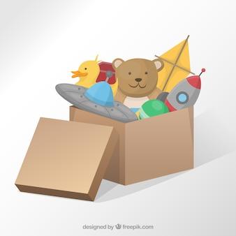 Caixa com brinquedos