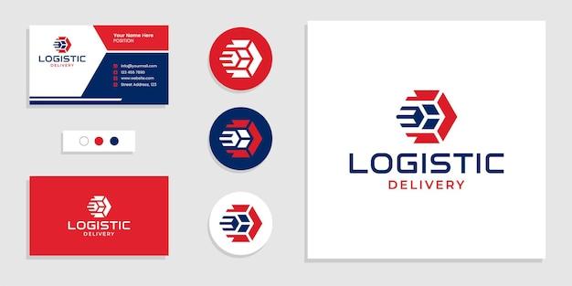 Caixa com conceito de seta. entrega logística, logotipo de remessa rápida e cartão de visita