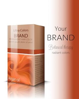 Caixa com cosméticos para cabelo com lugar para texto. terapia botânica. lugar para marca