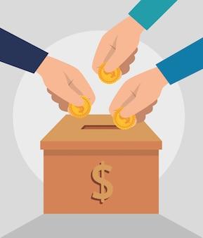 Caixa com dinheiro para doação de caridade