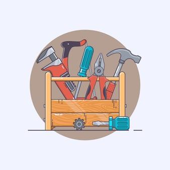 Caixa com ferramentas. alicates e martelo, chave de fenda e serra. coleção de arte de linha de cliparte vetorial.