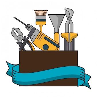 Caixa com ferramentas de construção
