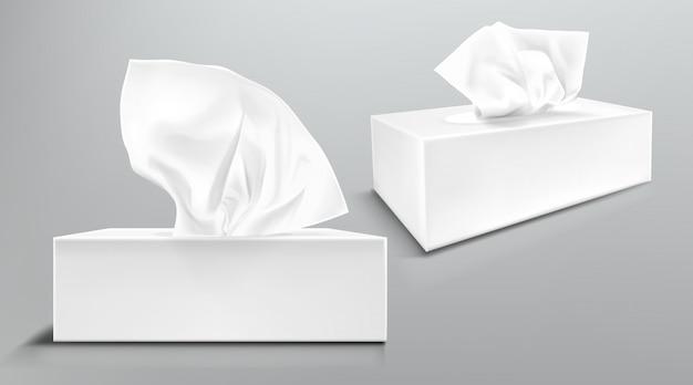 Caixa com guardanapos de papel branco dianteiros e vista de ângulo. maquete realista de vetor de pacote de papelão em branco com lenços faciais ou lenços isolados