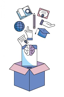 Caixa com itens de educação