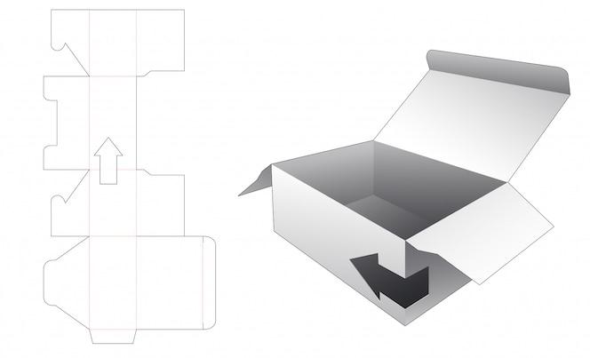 Caixa com janela em forma de seta modelo de corte