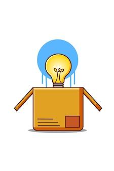 Caixa com lâmpada de desenho animado, ilustração de boa ideia