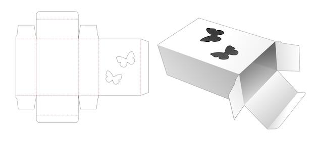 Caixa com molde de janela em formato de borboleta