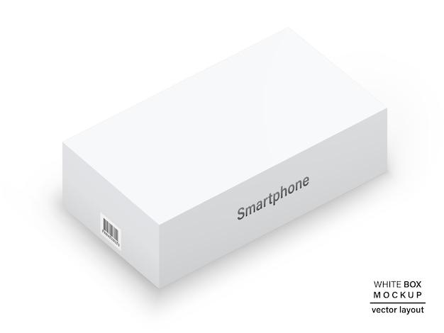Caixa cor branca com sombra e código de barras para embalar seu produto isolado no fundo branco. detalhado e realista. estoque 3d ilustração