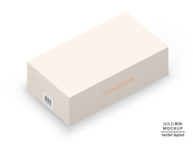 Caixa cor de rosa ouro com código de barras e sombra para embalar seu produto isolado no fundo branco. realista e detalhado. estoque 3d ilustração