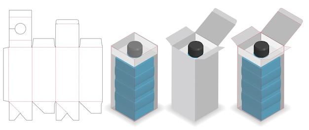 Caixa cosmética com dieline do fechamento do pescoço do tubo da garrafa