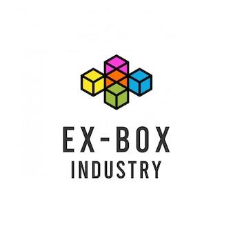 Caixa criativa arco-íris ou letra x design de logotipo