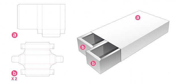 Caixa de 2 gavetas com tampa modelo cortado