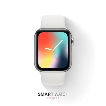 Caixa de aço prateada para relógio inteligente em fundo branco