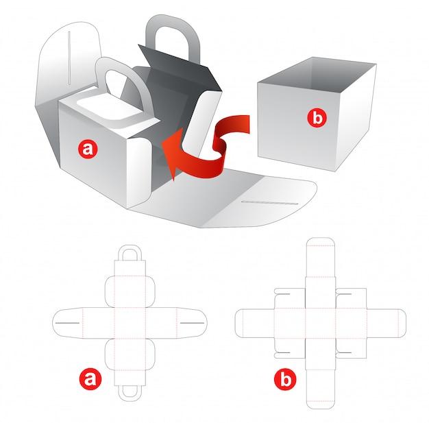 Caixa de alimentos com design de modelo de corte e vinco de capa embrulhada
