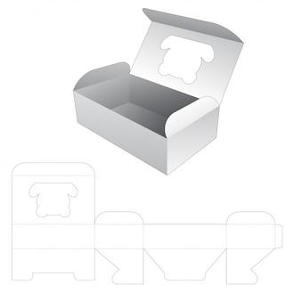 Caixa de alimentos com janela em forma de urso cortado modelo