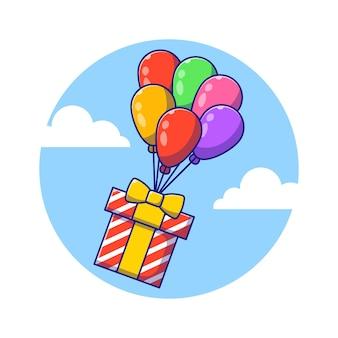 Caixa de aniversário colorida voando com balões ilustração plana dos desenhos animados.