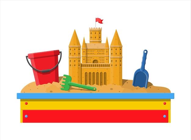 Caixa de areia infantil de madeira para jogos. sandbox com assentos.