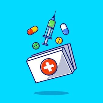 Caixa de armazenamento de remédios, injeção, pílulas e comprimidos ilustração do ícone dos desenhos animados. conceito de ícone de medicina de saúde isolado. estilo flat cartoon