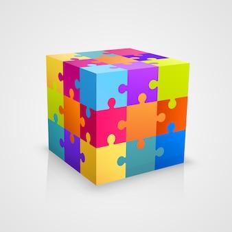 Caixa de arte de cubo de quebra-cabeça colorido. ilustração vetorial