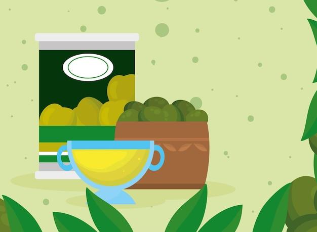 Caixa de azeite e cena de folhas de produtos