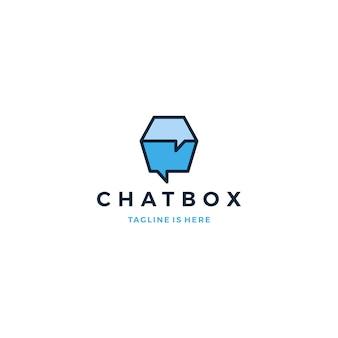 Caixa de bate papo conversa bolha logotipo ícone vetor modelo ilustração