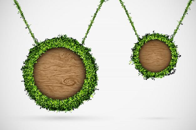 Caixa de bate-papo de madeira com grama, pendurado na corda