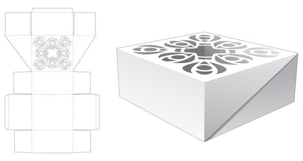 Caixa de bolo com padrão de mandala estampado no modelo de corte e vinco superior