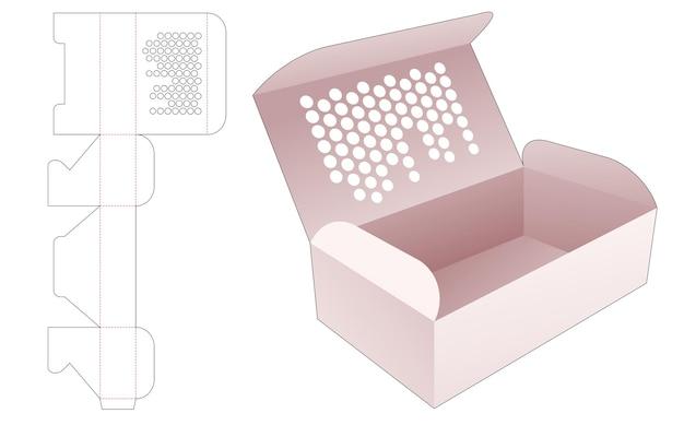 Caixa de bolo com pontos de meio-tom estampados no modelo de corte e vinco superior