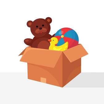 Caixa de brinquedos com ursinho de pelúcia, pato de borracha, bola
