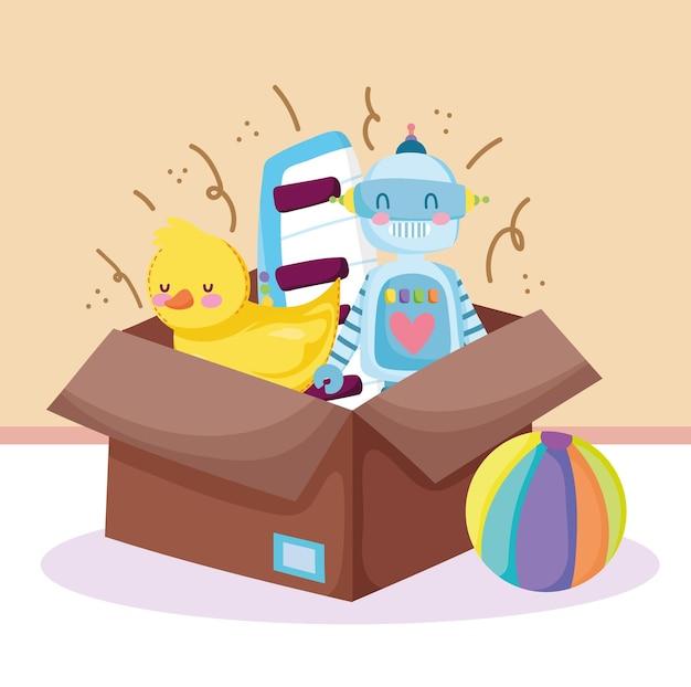 Caixa de brinquedos infantis bola robô