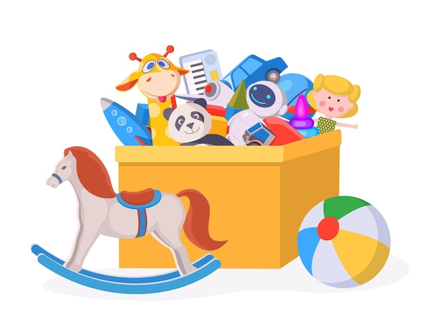 Caixa de brinquedos para crianças. as crianças dos desenhos animados brincam de contêiner com boneca, bola, animais de pelúcia, carro e cavalo. conceito de vetor de brinquedos do jardim de infância de meninos e meninas. coisas no recipiente, urso infantil e ilustração do robô