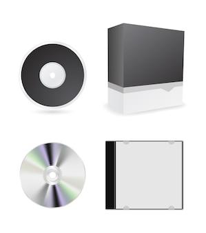 Caixa de cd e conjunto de ícones de caixa
