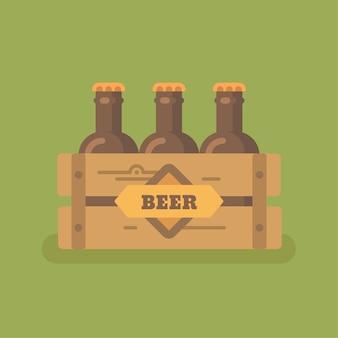 Caixa de cerveja com ilustração plana de três garrafas de cerveja