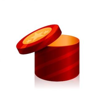 Caixa de cilindro isolada no fundo branco.