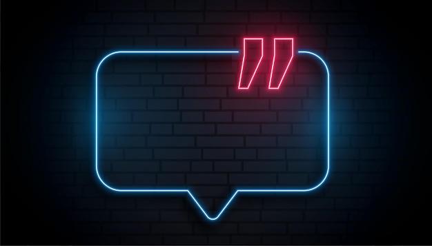 Caixa de citação de néon com espaço de texto