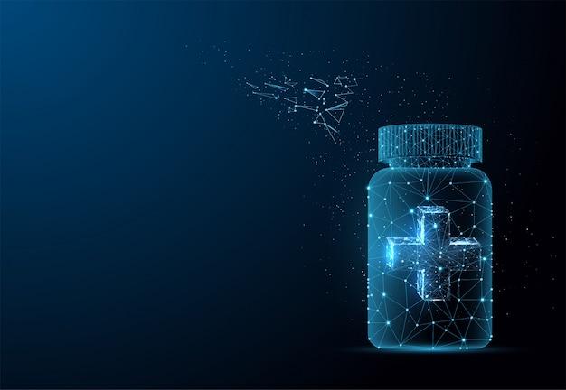 Caixa de comprimidos com tampa cruzada. cartaz de publicidade multivitaminas e minerais, modelo de design de folheto. estrutura de arame poligonal