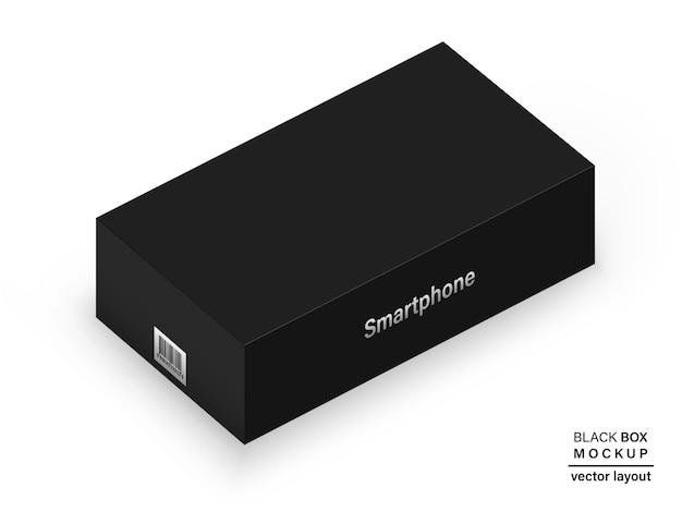 Caixa de cor preta com código de barras e sombra para embalar seu produto isolado no fundo branco. realista e detalhado. estoque 3d ilustração