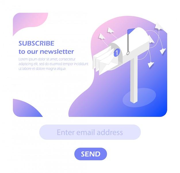 Caixa de correio. assine a newsletter.