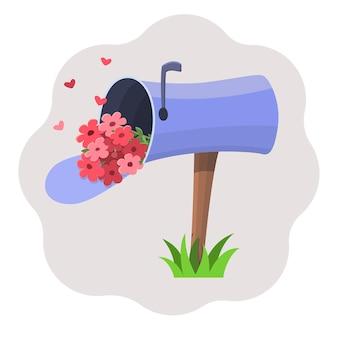 Caixa de correio azul de desenho animado em uma perna de madeira com um buquê de flores rosa dentro