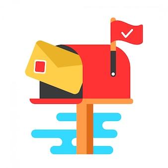 Caixa de correio com carta.