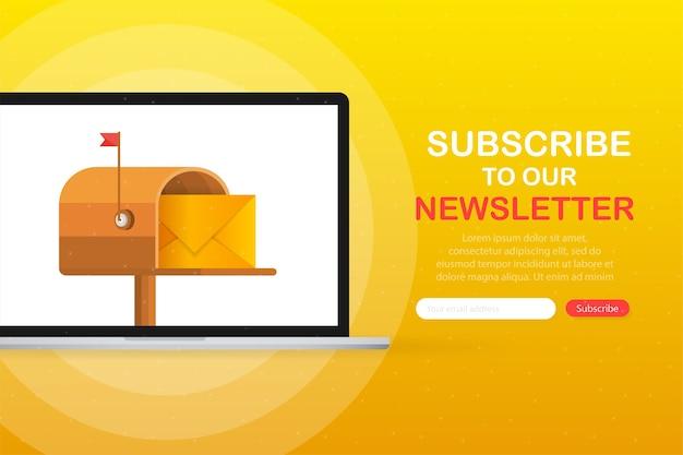 Caixa de correio com uma carta dentro em um estilo plano no dispositivo de tela em um fundo amarelo. assine a nossa newsletter.