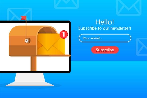 Caixa de correio com uma carta em um estilo plano em um amarelo