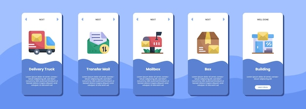 Caixa de correio e edifício de transferência de caminhão de entrega de tela de aplicativo móvel