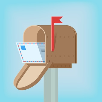 Caixa de correio postal com carta dentro do modelo de design ilustração vetorial