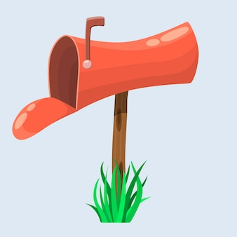 Caixa de correio vermelha de desenho animado, vazia por dentro, com uma porta aberta.