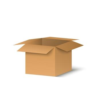 Caixa de corton em um fundo transparente. ilustração de um presente ou pacote.