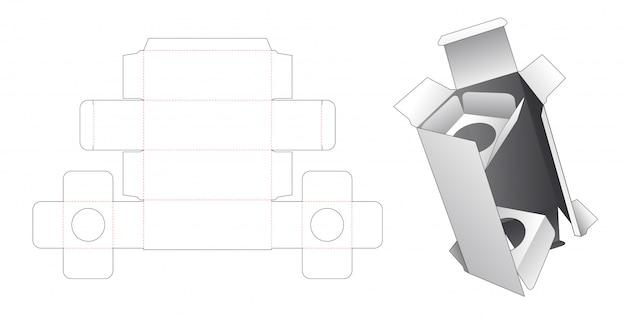 Caixa de cosmética com 2 suportes de inserção modelo cortado